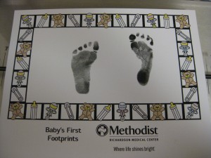 VBAC baby footprints Richardson Methodist hospital