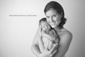 NHance Photography mom and baby skin to skin black and white portrait