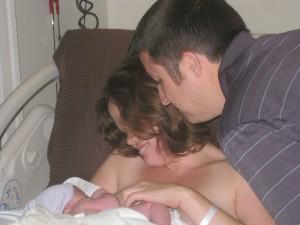 Helen and Luke meeting baby Graham